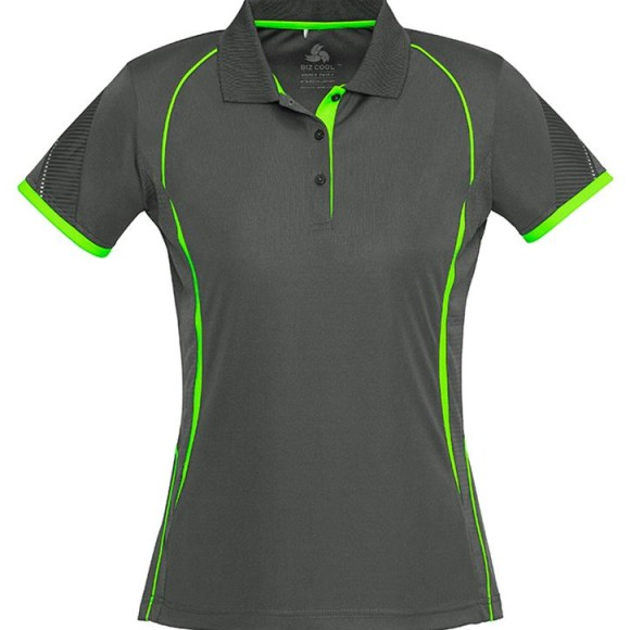Ladies Polo Grey Fluro Green